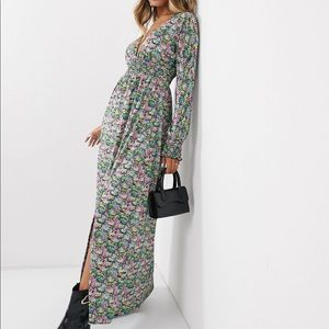 floral maxi dress with v neck